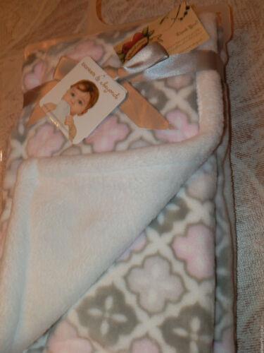 BLANKET BEYOND BABY GEO MEDALLION FLORAL PINK GRAY SHERPA SWADDLE REVERSIBLE