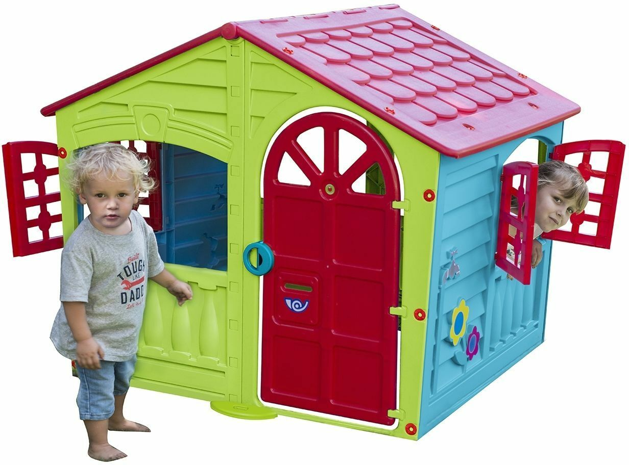 kids outdoor playhouse children toddler yard indoor boys girls cottage home hut ebay. Black Bedroom Furniture Sets. Home Design Ideas