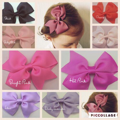 Girls Kids Baby Toddler Hair Alligator Clip Bow Pin Deluxe Grosgrain Ribbon UK