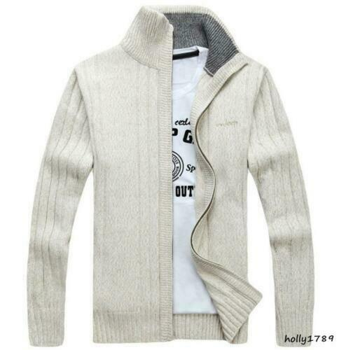 Fashion Mens Zip Slim Fit Sweater Knitted Cardigan Stand collar Outwear Coat NEW