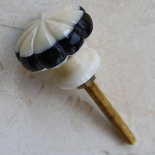 Möbelknopf Intarsien Schachbrett Natur Knochen  Möbelknöpfe Schwarz Weiß 76 N