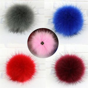 e251187165a 1x Faux Fox Fur Pom Pom with Press Button Fake Fur Hat Bubble ...