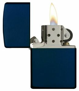 Genuine-Zippo-Windproof-Refillable-Petrol-Lighter-without-Logo-Navy-Blue-Matte