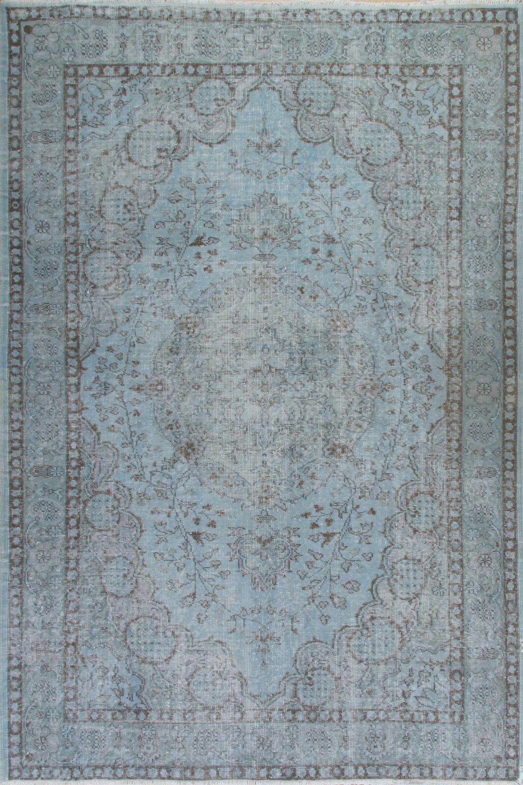 5.5 x8 ft Luz Color Azul Overdyed Vintage Hecho A Mano & turco moderno Alfombra A242