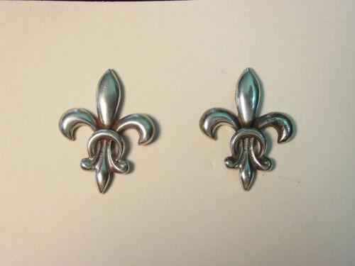 Silver Pewter 'FLEUR-DE-LYS' Pierced Earrings