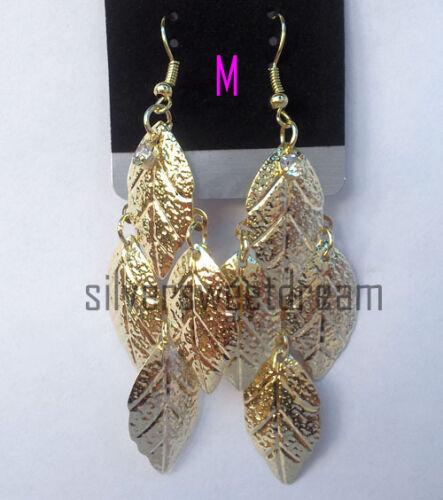 Orecchini foglia rombi dorati Lunghi fashion estate estivi oro brillanti strass