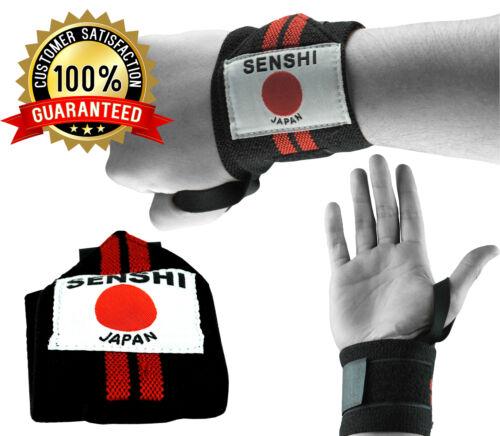 Pair Senshi Japan Weight Lifting Wrist Strap Support Wrap Thumb Loop Grip Gym