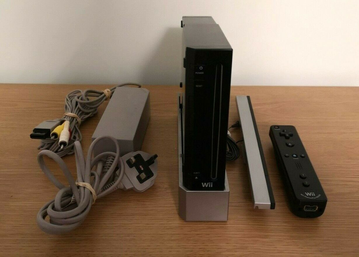 videogiochi e console: Black Nintendo Wii Console Bundle 1 Controller & All Wires etc