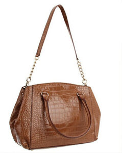 Image Is Loading Kate Spade New York Brown Croc Embossed Leather