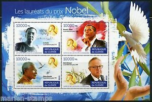 GUINEA 2015 NOBEL PRIZE WINNERS XIAOBO, OBAMA, MANDELA & AHTISAAI SHEET MINT NH
