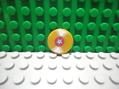 Lego 1 Pearl Gold 2x2 Round Finishing Tile Printed Vinyl Record with Star NEW