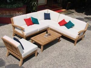 Image is loading 5-PC-TEAKWOOD-TEAK-WOOD-INDOOR-OUTDOOR-PATIO- : patio sectional sofa - Sectionals, Sofas & Couches