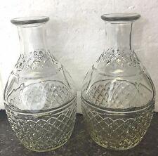 Vintage Clear Glass Liquor Whiskey Alcohol Decanter Bottle Crown & Grape Design