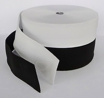Flat Woven Elastic 50mm / 2 inch wide Black or White Premium Grade UK SELLER