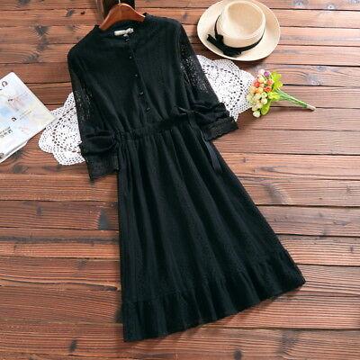 Mori Gilrs Artistic Small Fresh Lace Vintage Long Sleeve Dress Cute Lolita#SX636