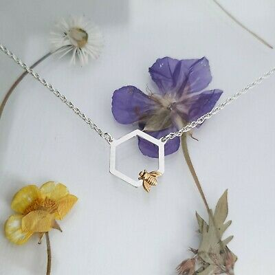 Handmade Sterling Silver Hexagon Honeycomb /& Bee Pendant Necklace