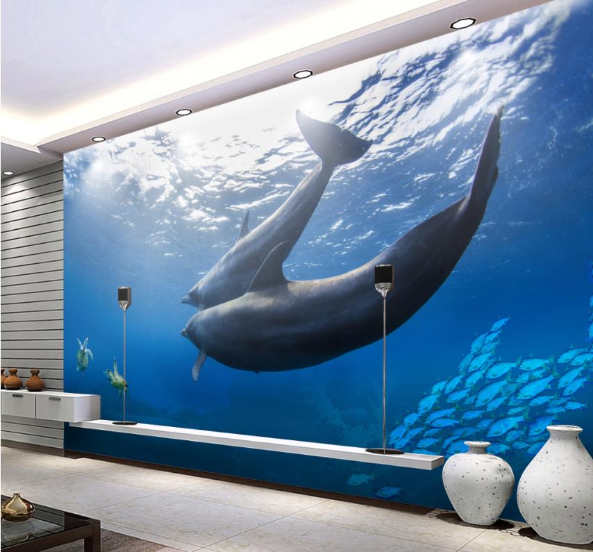 3D Dolphins Turtles 72 Wall Paper Murals Wall Print Wall Wallpaper Mural AU Kyra