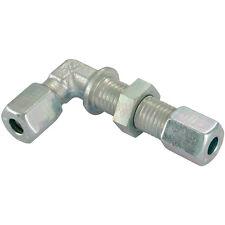 Hydraulic Compression Equal Bulkhead Elbow Tube Connector 8mm 8L DIN2353 Pk2
