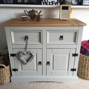 Shabby Chic Sideboard In Farrow Ball French Grey Solid Pine