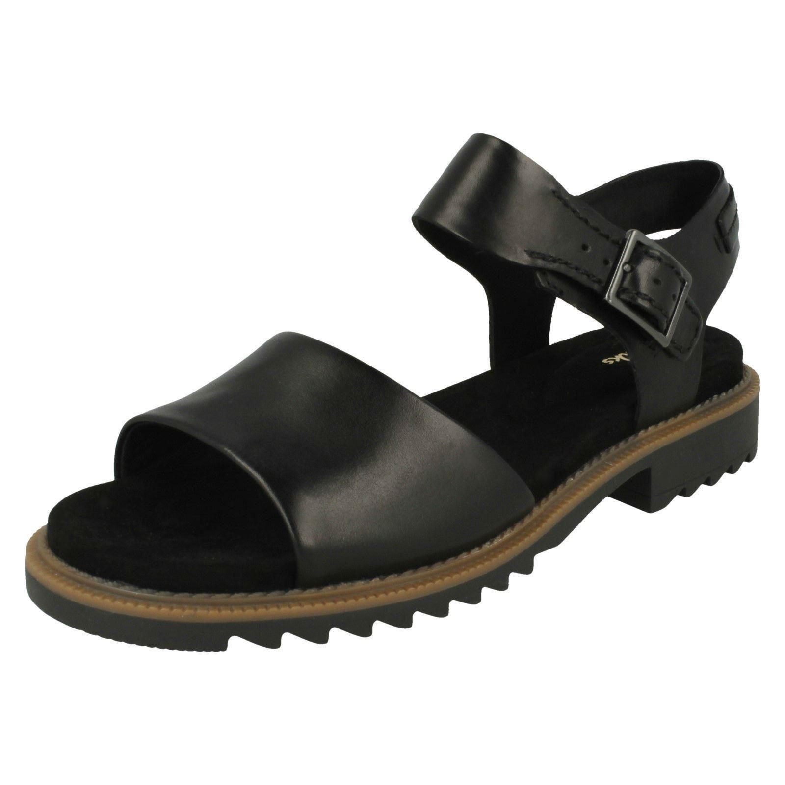 Damas Damas Damas Clarks Ferni fama de cuero negro Sandalias Informales-D MONTAJE  ¡No dudes! ¡Compra ahora!