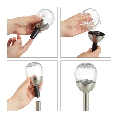 4 x Gartenleuchte Glaskugel Solarleuchte LED Bruchglas Farbwechsel Kugelleuchte