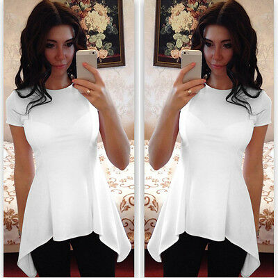 Women Ladies Casual Short Sleeve Blouse Summer Solid Irregular Hem Tunic Tops