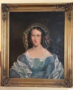 19th-c-30-x-35-034-Antique-Oil-Portrait-Painting-woman-blue-gown-lady-gilt-frame