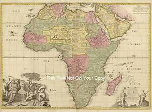 17x13 Africa Reproduction Vintage Color Old Colour 17c Map African