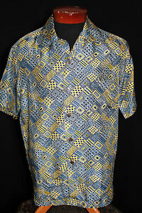 RARE-COLLECTABLE-VINTAGE-1950-039-S-034-ANDRADE-034-SILK-PRINT-HAWAIIIAN-SHIRT-SIZE-M