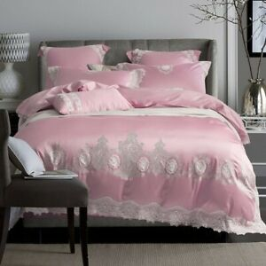 Luxury Egyptian Cotton Embroidered Bedding Sets Lace Cover Bed Sheet Set 4/6pcs
