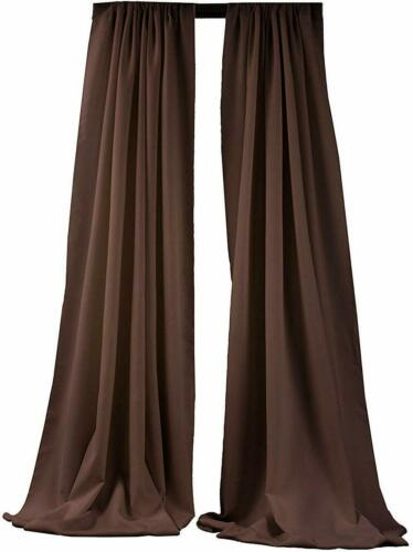 Brown 10 x 5 Ft 1 Pair Curtain Polyester Poplin Backdrop Drapes Panels