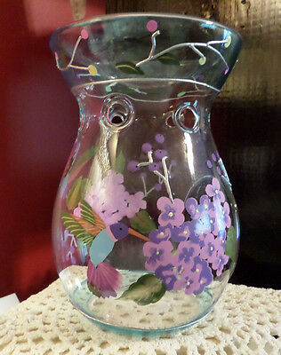 Hand Blown Glass Oil Wax Warmer holds Candle in Bottom Hummingbird Floral Design