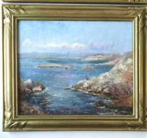 MARSEILLE LA CORNICHE Marine PROVENCE Toile IMPRESSIONNISTE 8F signée 1926 Cadre