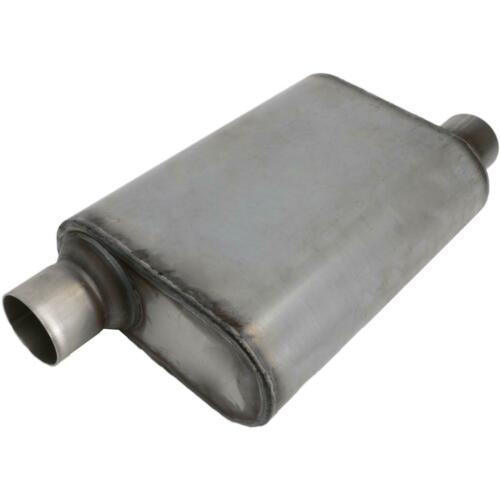 STAINLESS WELDED CHAMBER PERFORMANCE MUFFLER 3 Inch,OFFSET INLET//CENTRE OUTLET
