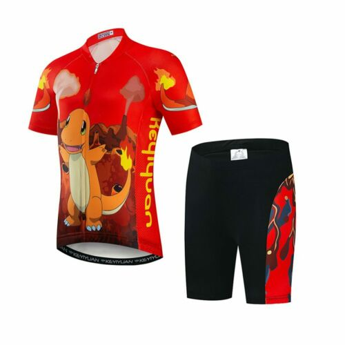 Kids Cycling Jersey /& Padded Shorts Kit Boys Girls Children Cycling Clothes Set