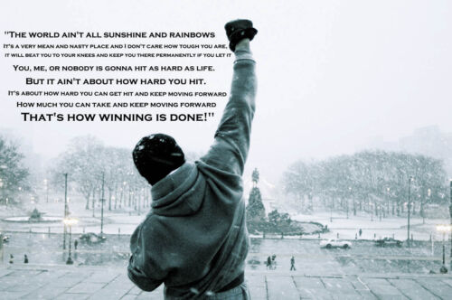 Rocky Balboa Quote Typography Gym Boxing Giant Art Poster A0 A1 A2 A3 A4 Sizes