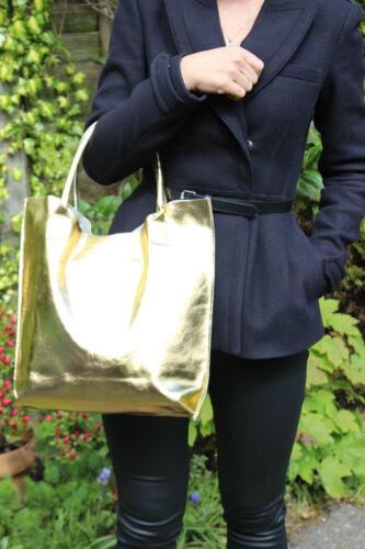 100 Shopper Gold Echtes Medium Leder Handtasche Mjcollection Zip Schultertasche 4dwqfH5x