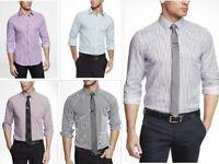 New EXPRESS Mens Extra Slim Fit Pinstriped Button Down Dress Shirt XS-XL Colors