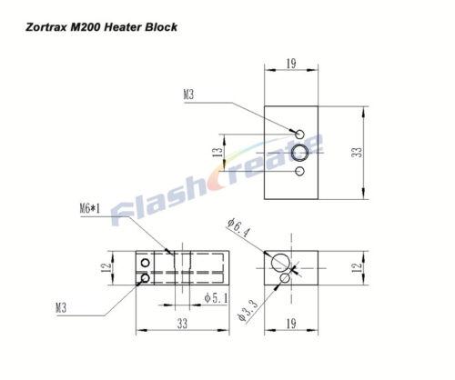 3D Printer Zortrax M200 Heating heater Block Aluminium 33x19x12 Extruder HotEnd
