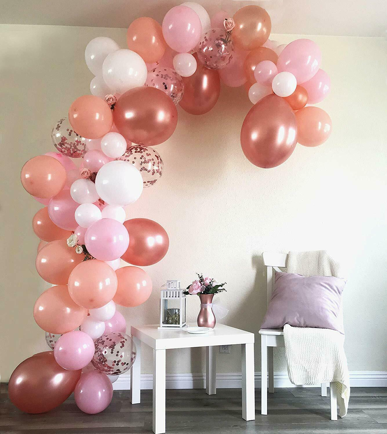 Diy Rose Gold Confetti Birthday Baby Shower Balloon Garland Arch Kit Decoration Ebay