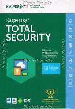 KASPERSKY TOTAL SECURITY MULTI-DEVICE 2016 3 DEVICES WINDOWS MAC ANDROID IOS NEW