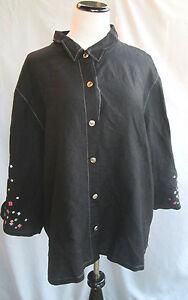 Bob-Mackie-Wearable-Art-Button-Down-Shirt-Black-Multi-Geometric-Sleeves-3X