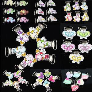 Schnuller 10 Stück Schnuller Clip Babyclip Holzclip Schnullerkettenclip Muster Wählbar Bastel- & Künstlerbedarf