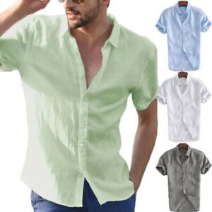 Fashion-Men-039-s-Summer-Casual-Dress-Shirt-Mens-Short-Sleeve-Shirts-Tops-Blouse-Tee