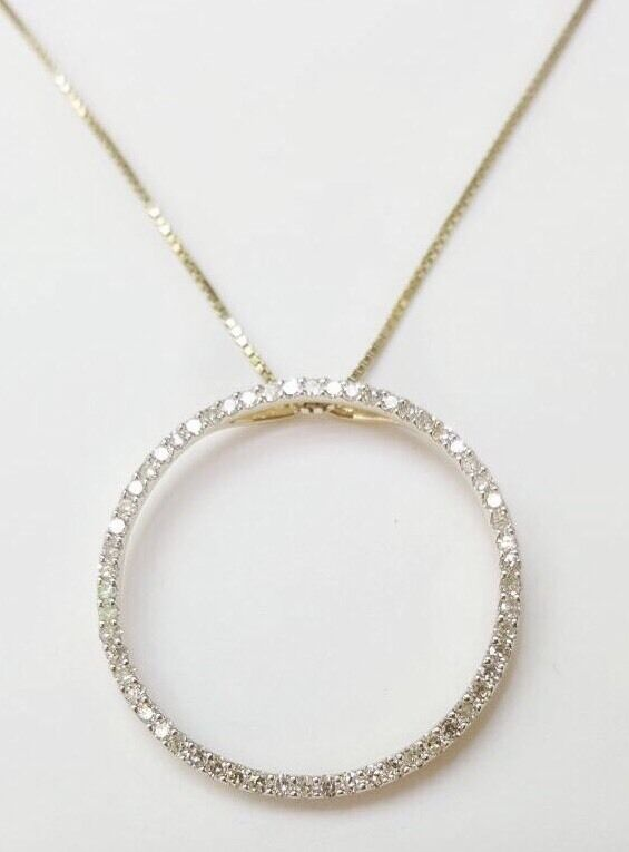 Round Brilliant 1 TCW Diamond 14k Yellow gold Circle Eternity Pendant & Chain
