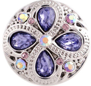 Silver Purple Rhinestone Flower 20mm Snap Charm For Ginger Snaps Magnolia Vine