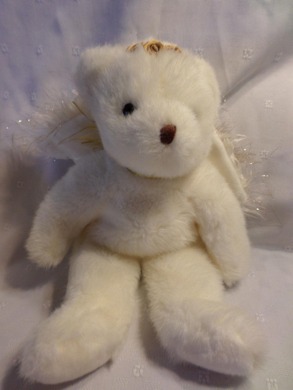 2001 Vntg Angel Beanie Buddies Ty gold White 15  Plush Soft Toy Stuffed Animal