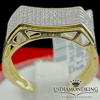 MEN'S NEW 10K YELLOW REAL GOLD .19CT GENUINE DIAMOND DESIGNER RING BAND 7MM SZ10