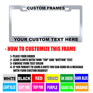 2 CUSTOM PERSONALIZED WHITE WITH GREEN LETTERS customized License Plate Frame