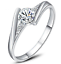 Brilliant Cut CZ 14K White Gold Plated Engagement Ring